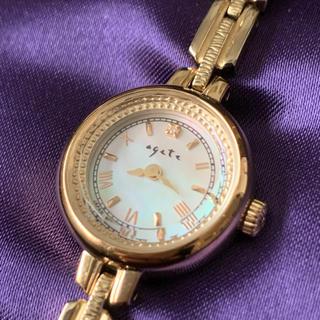 アガット(agete)の美品 agete アガット 腕時計 ソーラー シェル ダイヤ(腕時計)