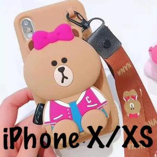 クマ iPhone case X XS 小物入れ ポーチ ストラップ付き(iPhoneケース)
