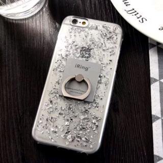 シルバー iPhone7 iPhone8 リング付き 銀箔入りケース(iPhoneケース)