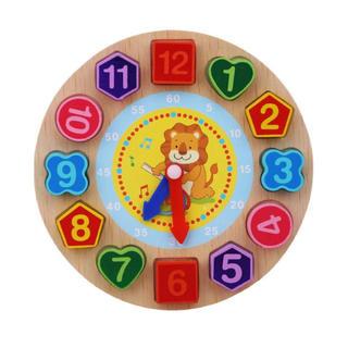 ライオン 時計パズル 数字 紐通し モンテッソーリ 知育 木製 おもちゃ パズル(知育玩具)
