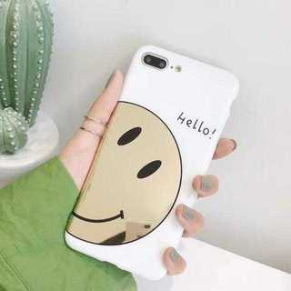【iPhoneXR用:ゴールドスマイリー】スマイリー柄 がミラーに!(iPhoneケース)