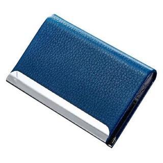【名刺入れ】スタイリッシュ 表面 PU レザー ステンレス【ブルー】(名刺入れ/定期入れ)