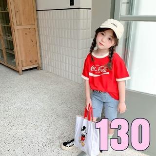 【新品】キッズ Tシャツ 男女兼用 おしゃれ 130 赤 ロゴTシャツ(Tシャツ/カットソー)