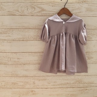 Caramel baby&child  - ハンドメイド一点もの[90]セーラーカーラーふんわり袖ワンピース くすみピンク