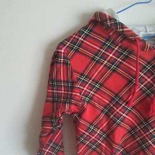 フード付きチェック長袖 130サイズ(Tシャツ/カットソー)