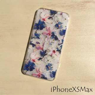 IP002 花柄 iPhoneケース パープル XSMax(iPhoneケース)