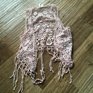 エイチアンドエム(H&M)の新品 H&M ジレ 羽織り 花柄 ピンク レース (カーディガン)