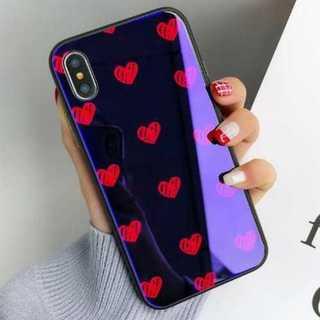 iphone ケース 藍色 赤 ハートドット柄 強化ガラス キズ防止 可愛い(iPhoneケース)