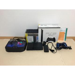 プレイステーション2(PlayStation2)の【美品】プレステ2本体+ソフト14本+ファイティングストック2コントローラー(家庭用ゲーム機本体)