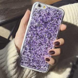 パープル iPhone6 iPhone6s ラメ入り キラキラ 銀箔 ケース(iPhoneケース)