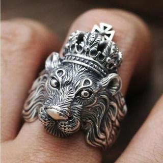 百獣の王 ライオンヘッド ライオン 獅子王 王冠 銀色 リング 指輪 20号(リング(指輪))