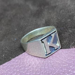 SILVER925 印台「K」シルバー92517号リング 指輪(リング(指輪))