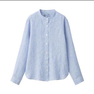 MUJI (無印良品) - 無印良品オーガニックリネン洗いざらしスタンドカラーシャツ 婦人M・