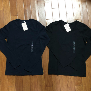MUJI (無印良品) - MUJI 無印良品 オーガニックコットンストレッチ クルーネック長袖Tシャツ2枚