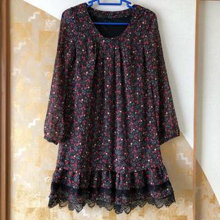 イング(INGNI)の美品 裾までおしゃれな花柄ワンピ INGNI 長袖 Mサイズ(ひざ丈ワンピース)