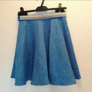 リランドチュール(Rirandture)のリランドチュール ビジュー ベルト 付き ツイード フレア スカート(ミニスカート)
