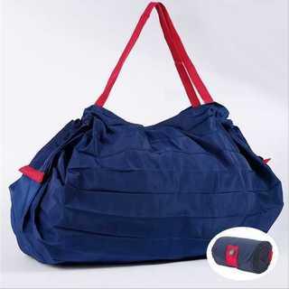 エコ バッグ 折りたたみ 大容量 藍色 コンパクト ショッピング 買い物 かご(エコバッグ)
