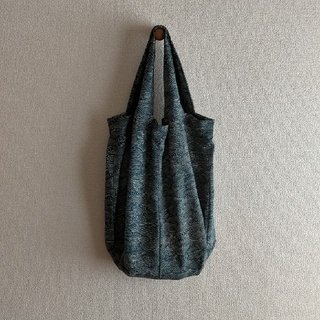handmade❈L 着物トートbag 濃紺 波(トートバッグ)