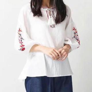 WEGO - WEGO 花柄刺繍ブラウス 白