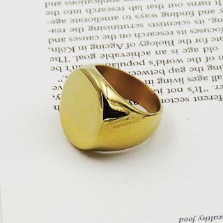 指輪 メンズ リング 印台 サークル ゴールド ステンレス シグネット 鏡面