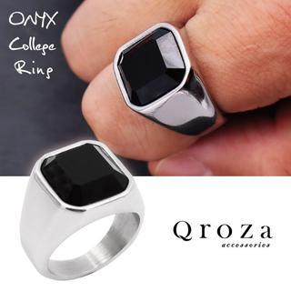 指輪 メンズ リング 印台 オニキス サージカルステンレス 重厚 高級感