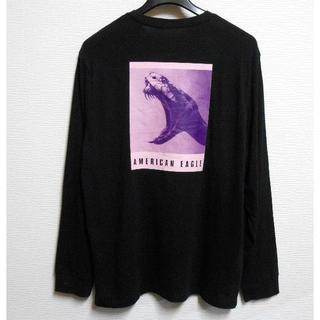 アメリカンイーグル(American Eagle)のアメリカンイーグル/US:XXL/ブラック/グラフィックバックプリント長袖T(Tシャツ/カットソー(七分/長袖))