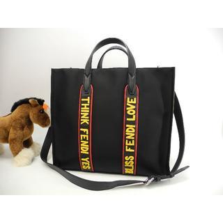 フェンディ(FENDI)のフェンディ トートバッグ大 ボキャブラリーLove 黒 メンズハンドバッグ 極美(トートバッグ)