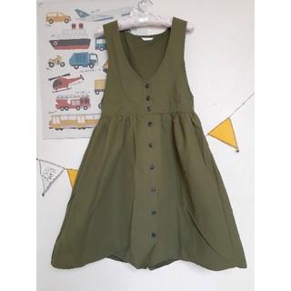 エヘカソポ(ehka sopo)のジャンパースカート♡カーキ(ひざ丈ワンピース)