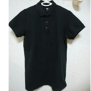 ユニクロ(UNIQLO)のユニクロ ポロシャツ レディース Lサイズ 黒(ポロシャツ)