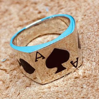 スペードエース印台 シルバー925 シグネット 最強 四角 銀 指輪(リング(指輪))