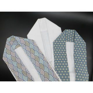 うそつき衿  白  麻の葉 波柄 合計3点  衣紋抜き付き ハンドメイド(和装小物)
