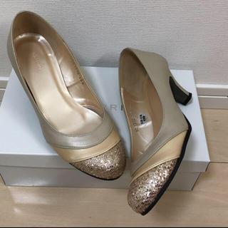 ギンザカネマツ(GINZA Kanematsu)のハイヒールパンプス ゴールド 靴 ベージュ(ハイヒール/パンプス)