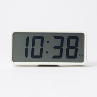 ムジルシリョウヒン(MUJI (無印良品))の限定半額★新品☆無印良品 デジタル時計・大 ホワイト 白 置時計 SONY⌘♫(置時計)
