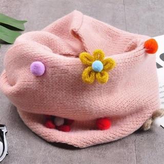 ( カラー / ピンク ) フラワーモチーフ 女の子 用  ネックウォーマー(マフラー/ストール)