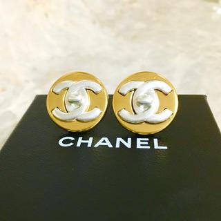 CHANEL - 正規品 シャネル イヤリング ターンロック ココマーク コンビ 丸 ゴールド 銀