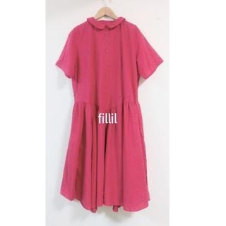 merlot - 【Fillil/フィリル】ガーリー襟ウエスト切り替え半袖ワンピース ピンク F
