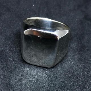 印台 重い シルバー925 リング  メンズ ハンコ 四角 スクエア 銀 指輪(リング(指輪))