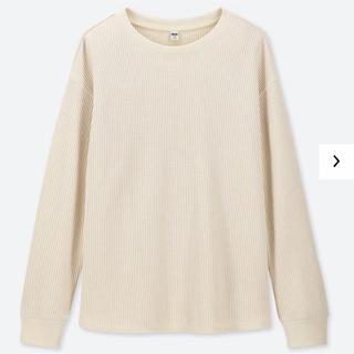 ユニクロ(UNIQLO)のユニクロ UNIQLO ワッフルクルーネックT(長袖)M オフホワイト (Tシャツ(長袖/七分))