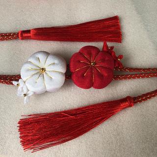 帯飾り 帯締め 帯留め/成人式 卒業式 七五三 赤・白(和装小物)