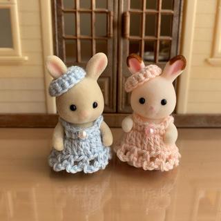 シルバニア 赤ちゃん用 ドレスセット 桜色と空色(その他)