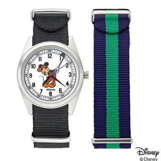 ディズニー(Disney)の【セブン限定】オトナミューズ付録ヴィンテージ調替えベルト付きミッキーマウス腕時計(腕時計)