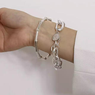 Bubbles - Branch chain bracelet set silver No.332