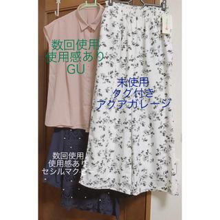ジーユー(GU)の3点セット ブラウス ガウチョ ワイドパンツ 花柄(セット/コーデ)
