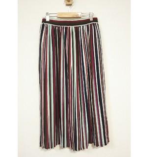 Bou Jeloud - 美品 ブージュルード マルチ ストライプ スカート シフォン プリーツ スカート