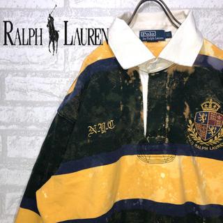 POLO RALPH LAUREN - ラルフローレン ポロシャツ ラガーシャツ ストライプ 刺繍ロゴ ビッグサイズ