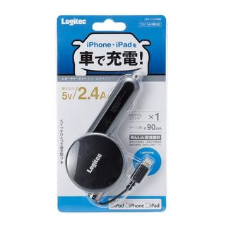 ELECOM - カーチャージャー iPhone iPad Lightning 巻取り 2.4A
