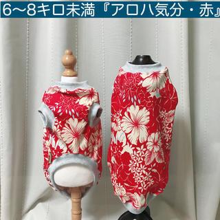6〜8キロ未満『アロハ気分・赤』メルロコ ダックス 犬服(ペット服/アクセサリー)