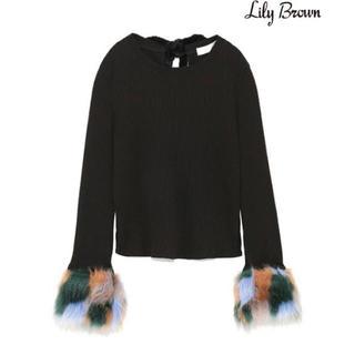 Lily Brown - Lily Brown ファースリーブリブカットトップス ブラック