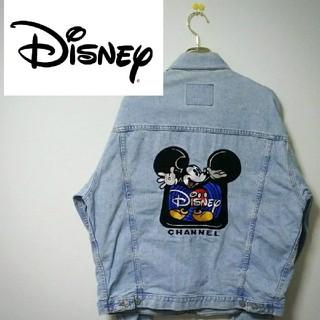 ディズニー(Disney)の【美品】Disney【ディズニー】 ミッキーマウスビッグ刺繍入り Lサイズ(Gジャン/デニムジャケット)