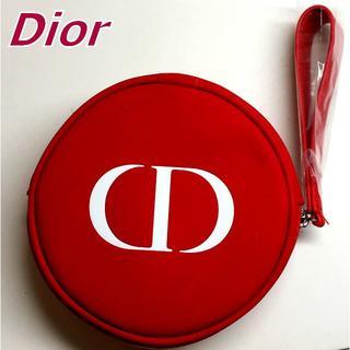 Dior - Dior レッド × ホワイト CDロゴ入 ラウンド コスメポーチ 持ち手付き♪